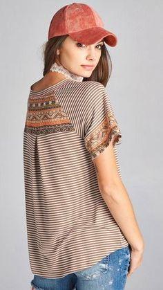 5749663e575 7 Best 3/4 Length Sleeve Tops images | Band, Fabric, Fabrics