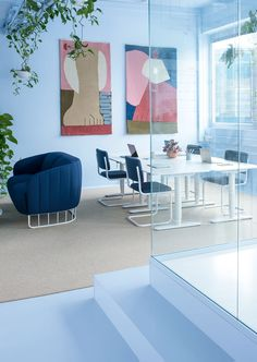 Kvistad with Color Interior Concept for Scandinavian Office - InteriorZine Office Furniture Design, Office Interior Design, Office Interiors, Color Interior, Furniture Ideas, Scandinavian Office, Scandinavian Interior Design, Swedish Design, Interior Concept