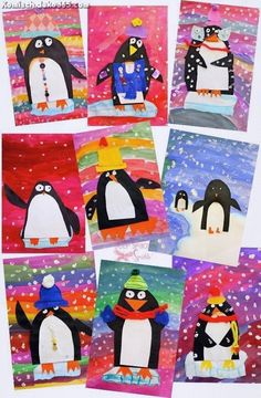 Colorful penguin art project that use simple supplies and teaches a bunch of art techniques. Makes a cute Xmas craft, too! Colorful penguin art project that use simple supplies and teaches a bunch of art techniques. Makes a cute Xmas craft, too! Winter Art Projects, Winter Crafts For Kids, School Art Projects, Fun Projects, Simple Art Projects, Paper Art Projects, Winter Kids, Christmas Art Projects, House Projects