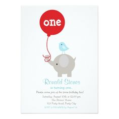 #Elephant Birthday Invitation with Red Balloon - #giftidea #gift #present #idea #one #first #bday #birthday #1stbirthday #party #1st