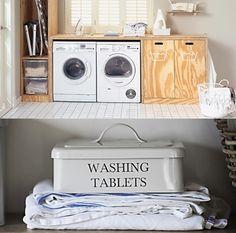 Blog déco design Joli Place Basement Shelving, Basement Gym, Landry Room, Blog Deco, Deco Design, Washing Machine, Home Remodeling, Interior And Exterior, Home Appliances