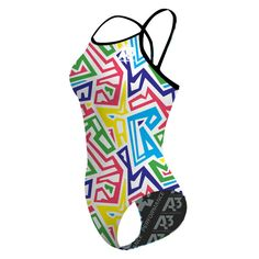 NEW! A3 Kraze Color Flashback Training Suit! It's Flashback style you know and love, but now in new, fun prints and colors! 82% Polyester, 18% Elastane.