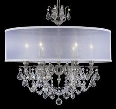 """6 LIGHT CHANDELIER W/WHITE SHADE  PRECISION FRENCH PENDALOQUE CRYSTAL  SILVER FINISH/WHITE SHADE LAMP TYPE: 6 X CC140 FINISH OPTION 1: SEVERAL FINISHES SIZE OPTION 1: SEVERAL STYLES & SIZES MOUNTING OPTION: CAST MADE IN ITALY SIZE: 24""""D X 22""""H WEB ID: WN1404612608 $2439.99"""
