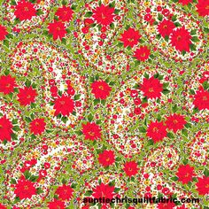 Cotton Quilt Fabric Christmas Poinsettia Large Paisley Black Andover Fabrics - product images of Christmas Poinsettia, Christmas Fabric, Christmas Ideas, Cotton Quilts, Cotton Fabric, Andover Fabrics, Vintage Tablecloths, Floral Fabric, Winter Holidays