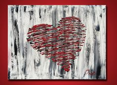 Red Heart Art, Original painting, Hearts, Red Heart, Heart painting, red painting, abstract red heart, I love you, texture art on canvas 20. $99.00, via Etsy.