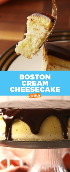 This Boston Cream Pie Cheesecake is one of our most insane desserts ever. Get the recipe at Delish.com.
