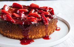 Flourless lemon cake with strawberries by Adam Gray, via Great British Chefs
