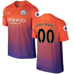 manchester city nike 2016 17 custom third replica jersey with patch orange 86.24