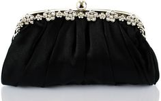 Black Sparkly Crystal Satin Evening Clutch