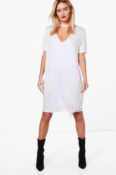 7c135c8153957 Boohoo Katie Choker Oversized Knot Front T-Shirt Dress Size UK 14 LF083 GG  04