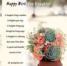 Happy Birthday Daughter - A Daughter Brings Sunshine To Brighten Your Day