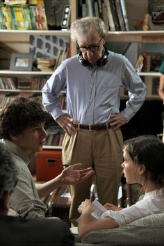Woody Allen, Jesse Eisenberg, & Ellen Page behind the scenes of To Rome, With Love