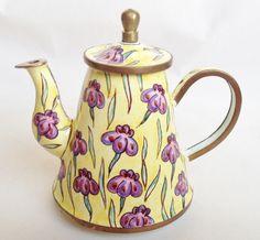 Purple flowers enamel teapot - Charlotte di Vita miniature teapot