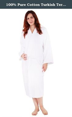 100% Pure Cotton Turkish Terry Kimono Bathrobe - White - Small Medium. Introduction: This Kimono style bathrobe derives from the traditional Japanese garment. Its flat neckline and short, wide sleeves provide comfort and functionality. Whether you want to use it straight out of the bath, or just to lounge around the house, this is the perfect robe just for that. Lightweight, so you may wear it on a hot summer day, but thick enough to keep you warm during those cold winters. Product...