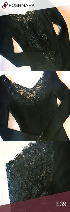CACHE' Top Beautiful Cache' top with sheer sequin embellished bodice. Very sophisticated and classy top. Only worn one time. Slim fit, flattering, material is thick made of 50% Rayon/42% Nylon/8% Lycra. Very well made top! Excellent condition. Cache Tops