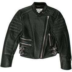 Pre-owned Acne Leather Moto Jacket ($1,075) ❤ liked on Polyvore featuring outerwear, jackets, black, biker jacket, real leather jacket, leather rider jacket, 100 leather jacket and moto jacket