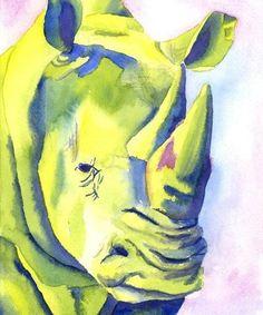Animal Art Rhino 5x7 Fine Art Print. $17.00, via Etsy.