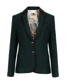 f569c46a7236 Embellished collar blazer - Dark Green
