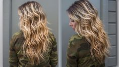 Super pretty beach waves! She has an interesting technique:Only curl the hair 1.5 times around the barrel and leave 2 inches of ends free.