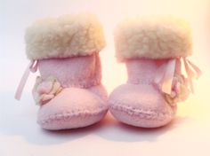 Light Pink Ugg Baby Boots Fleece Baby Booties Baby by funkyshapes