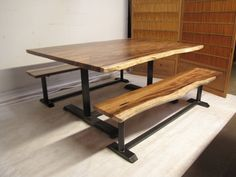 """Live-edge Hawaiian """"Chocolate Heart"""" acacia table and benches. Decor, Furniture, Dining Bench, Table, Home Decor, Reclaimed Wood Table, Reclaimed Wood, Wood Table, Dinning Set"""