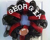 Georgia Bulldogs Football Wreath.  I may have to make a Purdue one for next fall.