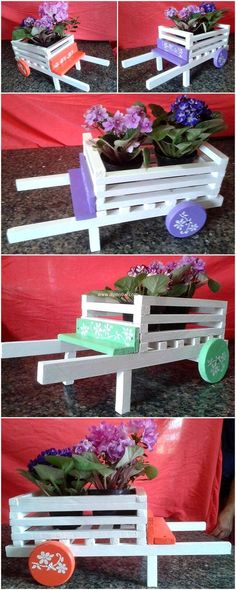Reused pallet wheel borrow is such a simple and easy craft. You can use it also as mini planter and give color according to your flavor. The simplicity and functionality of this craft are increasing its worth. This projects gives your surrounding wonderful touch in economical way.