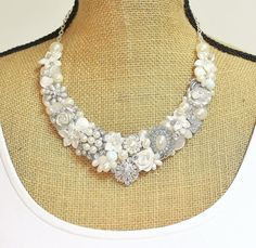 Pearl Bridal Bib Necklace Bridal Statement Necklace by BrassBoheme
