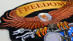 Freedom Isn't Free Motorcycle Eagle Embroidered Iron on Biker Patch Biker Wear, Biker Patches, Leather Vest, Eagle, Motorcycle, Freedom, Iron, Liberty, Political Freedom
