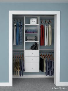 4 ways to design a reach in closet to get organized.