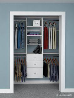 4 ways to design a reach in closet to get organized.