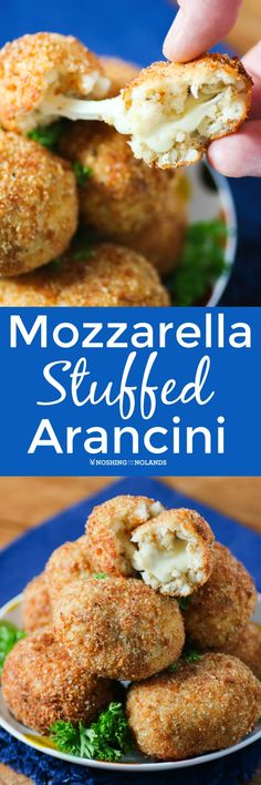 Mozzarella Stuffed Arancini by Noshing With The Nolands are a traditional Sicilian recipe that are crispy on the outside and filled with ooey, gooey cheese! Serve as an appetizer, side or main!