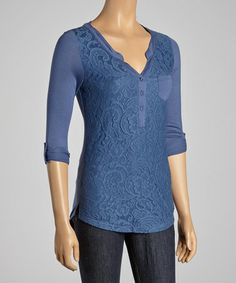 Take a look at this Blue Lace Henley Top by Rain on #zulily today! $25 !!