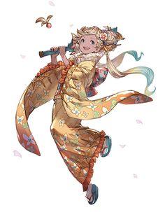 Dusk Daffodil Kimono Io from Granblue Fantasy