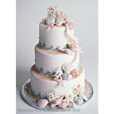 Seaside Wedding Cakes found on Polyvore