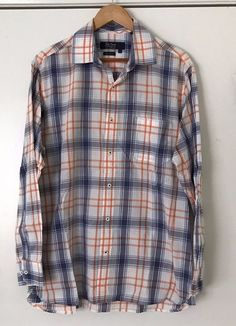 0e2eb53b0b0f Nat Nast Luxury Originals American Fit Large Plaid Long Sleeve Shirt 100%  Cotton #NatNast