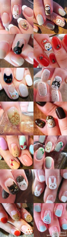 lots of super cute animal nail art