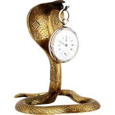 Vintage French Cobra Snake Serpent Pocket Watch Holder Art Deco Pocket Watch Stand