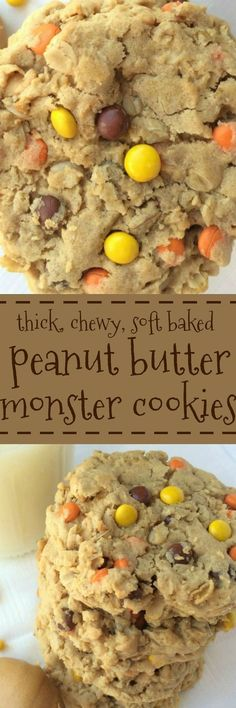 These triple peanut butter monster cookies are a peanut butter lovers dream Peanut Butter Desserts, Peanut Butter Chips, Cookie Desserts, Just Desserts, Cookie Recipes, Delicious Desserts, Yummy Food, Peanut Recipes, Cookie Bars