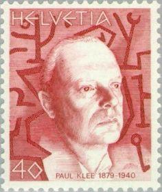 Gedenkmarke von 1979 mit einem Porträt Paul Klees, MiNr. 1147 Schweiz