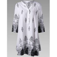 Allover Longline Plus Size Henley Shirt Plus Clothing, Trendy Plus Size Clothing, Plus Size Blouses, Plus Size Tops, Plus Size Outfits, Summer Patterns, Henley Shirts, Long A Line, Tunic Tops
