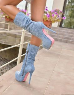 Limited Supply Shoespie Blue Stiletto Heel Side Zipper Ankle Boots Source by elegantshoegirl fashion boots Knee High Stiletto Boots, Hot High Heels, High Heel Boots, Heeled Boots, Stiletto Heels, Boot Heels, Sexy Boots, Casual Boots, Botines Peep Toe