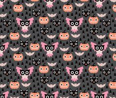 Geometric pumpkin cats and halloween illustration pattern fabric by littlesmilemakers on Spoonflower - custom fabric