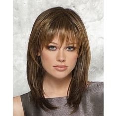 Straight Natural Womens Wigs With Bangs, 14inch Latest Medium Length Hairstyles Heat Resistant Synthetic