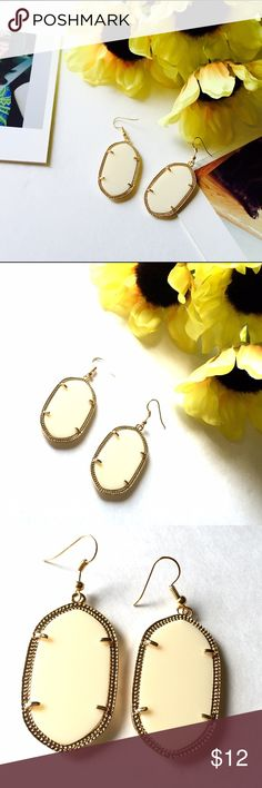 "listing Creme de la Creme Fashion Earrings On trend cream colored earrings set in gold finish. Approx 2"" not including hook. NWOT City to Seaside Jewelry Earrings"