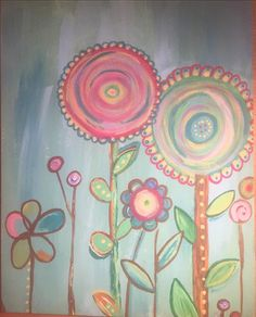 This fun and bright acrylic painting is great for any location and is done on a 12x16 canvas.