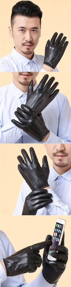 Men's leather touch gloves black sheepskin gloves free shipping in the winter