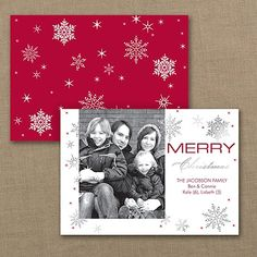 Highlight your photo and wishes! Sparkling, silver foil snowflakes brighten your greetings on this unique holiday card.