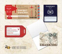 DESTINATION WEDDING Invitation Set - Boarding Pass Invite, Info. Luggage Tag, Passport RSVP & Map Thank You Card - Printable Digital Files