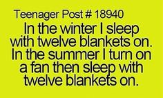 Me in the winter cause we don't have ac or heating: (gathers all the blankets) (carries blankets to my bed) (crawls under with a flashlight and a book) (who else thinks winter is reading season)